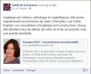Angélique est recommandée sur le salon Parapsy 2013 par www.guidedelavoyance.com